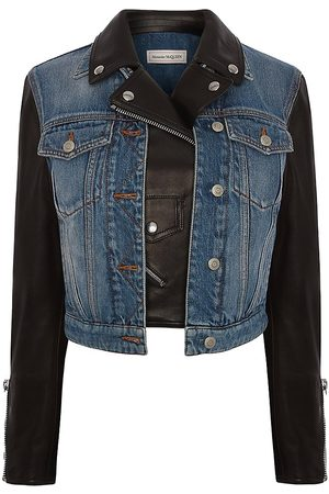 Alexander McQueen Women Leather Jackets - Women's Denim & Leather Moto Jacket - - Size 8