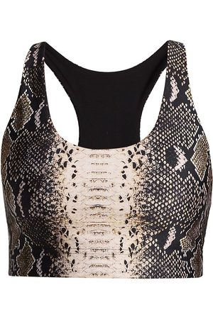 Terez Women Sports Bras - Women's Reversible Snakeskin Print Sports Bra - Natural Python - Size Medium
