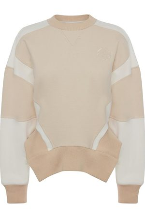 Alexander McQueen Women Sweatshirts - Women's Colorblock Cotton Sweatshirt - Ivory Calico - Size 10