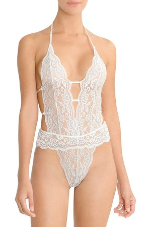 In Bloom Women's Stretch Lace & Mesh Bridal Teddy - Ivory - Size XL