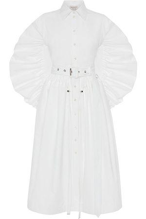 Alexander McQueen Women's Parka Puff-Sleeve Poplin Shirtdress - Optical - Size 10