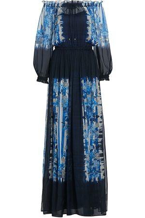 Alberta Ferretti Women Printed Dresses - Women's Ombré Floral-Print Off-The-Shoulder Long-Sleeve Silk Dress - Fantasy Print - Size 8