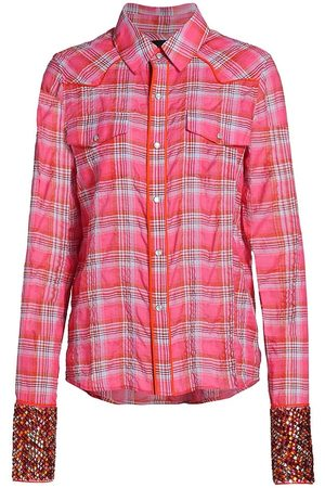 Le Superbe Women T-shirts - Women's Cowboy Plaid Shirt - Indian Summer Plaid - Size 2