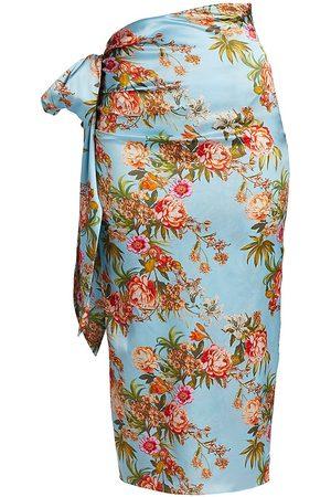 Adriana Iglesias Women Midi Skirts - Women's Brun Floral Stretch-Silk Skirt - Pool - Size 12