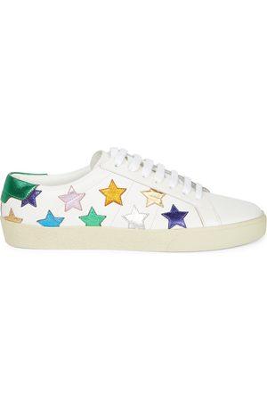 Saint Laurent Women's Court Classic SL/06 Metallic Star Leather Sneakers - - Size 9.5
