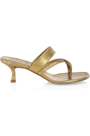 Manolo Blahnik Women's Susa Kitten-Heel Metallic Leather Thong Sandals - Bronze - Size 9
