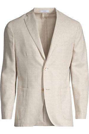 Boglioli Men Blazers - Men's Plaid Silk Sportcoat - Bone - Size 42