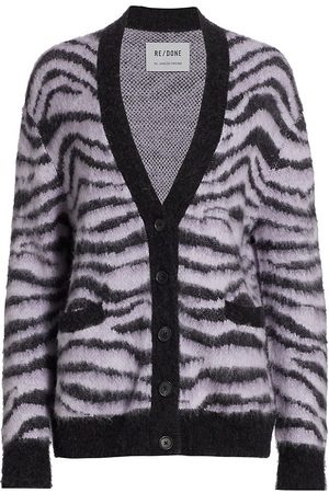 RE/DONE Women's 90s Oversized Tiger Intarsia Cardigan - Tiger Intarsia - Size XS