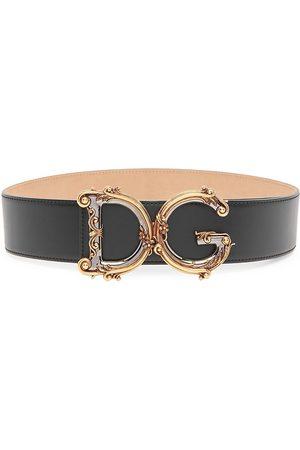 Dolce & Gabbana Women Belts - Women's Barocco Logo Leather Belt - - Size Medium