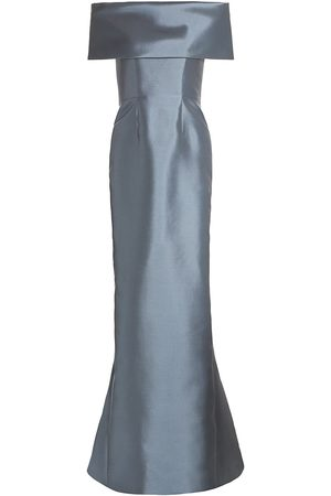 Catherine Regehr Women Strapless Dresses - Women's Off-The-Shoulder Silk & Wool Gown - Grey - Size 14