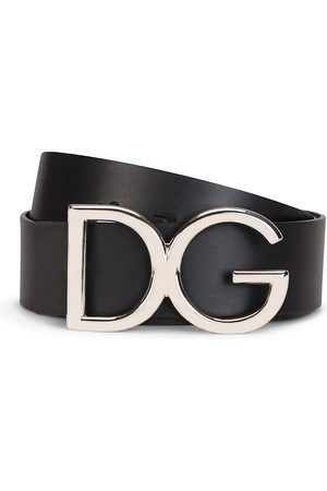 Dolce & Gabbana Men Belts - Men's Logo Leather Belt - Nickel - Size 36