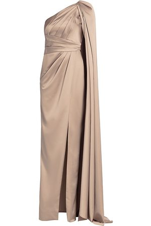 Pamella Roland Women Evening dresses - Women's Stretch Satin One-Shoulder Gown - Oyster - Size 2