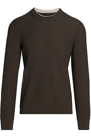 Ermenegildo Zegna Men Hoodies - Men's Waffle Knit Crew Sweater - Dark Solid - Size 48