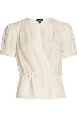 Paige Women's Felicity Puff-Sleeve Peplum Top - Eggshell - Size XL