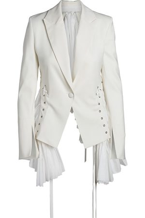 UNTTLD Women Blazers - Women's Andas Pleated Lace-Up Jacket - Ivory - Size 8