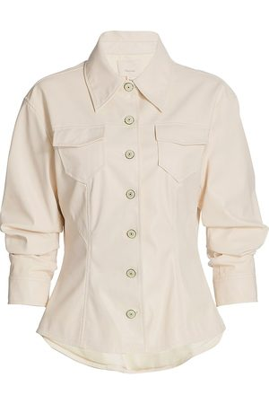 Cinq A Sept Women's Faux Leather Scrunched Canyon Jacket - Ivory - Size 14