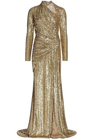Pamella Roland Women Asymmetrical Dresses - Women's Asymmetrical Draped Sequin Gown - - Size 12