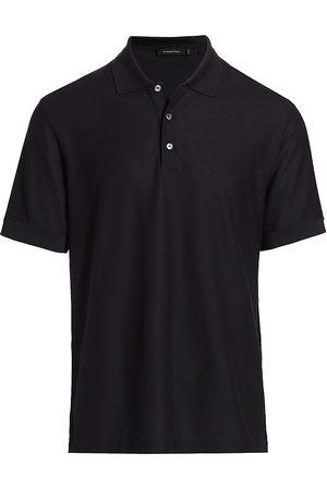 Ermenegildo Zegna Men's Classic Cotton & Silk Polo - Dark Solid - Size 48