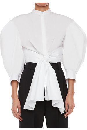 Alexander McQueen Women's Bow Wrap Puff-Sleeve Poplin Shirt - Optical - Size 2