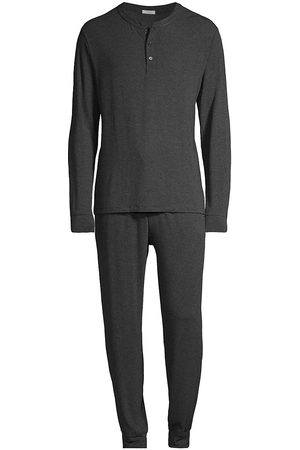 Eberjey Men Pajamas - Men's Henry 2-Piece Henley Pajama Set - Charcoal Heather - Size Small