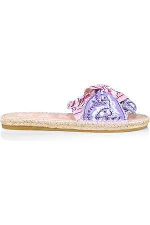MANEBI Women Espadrilles - Women's Knotted Bandana Espadrille Sandals - Blush Lilac - Size 10