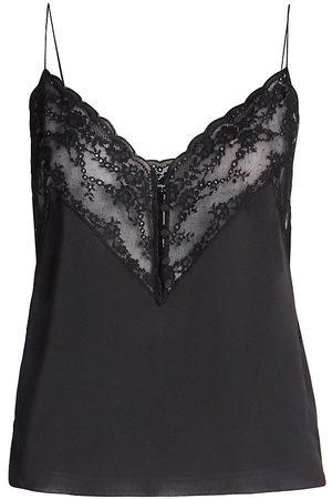 Saint Laurent Women Tank Tops - Women's Lace Silk Camisole - Noir - Size 10
