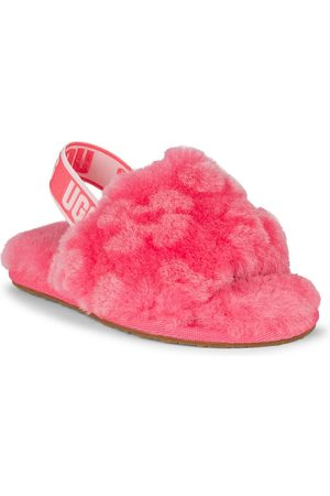 UGG Girls Sandals - Baby's, Little Girl's & Girl's Fluff Yeah Fur Slides - Strawberry Sorbet - Size 11 (Child) Sandals
