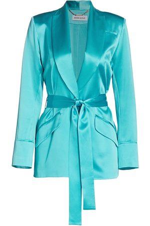 Adriana Iglesias Women Blazers - Women's Iba Silk Belted Jacket - Pool - Size 8