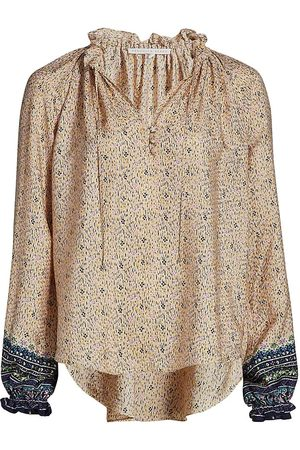 VERONICA BEARD Women T-shirts - Women's Antonette Peasant Silk Top - Size 12
