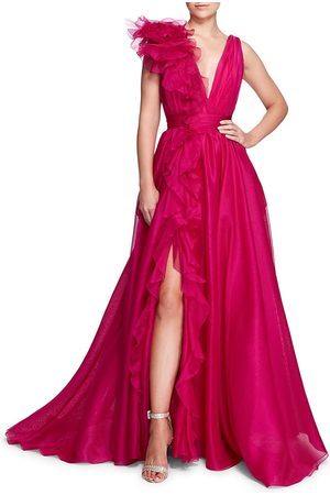 Marchesa Women's Rouched Floral Detail Gown - Fuchsia - Size 10