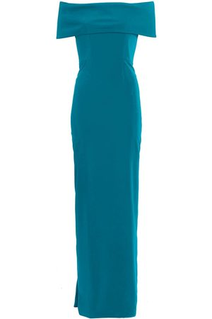 Catherine Regehr Women's Off-The-Shoulder Rolled Techno Crepe Gown - Aqua - Size 4
