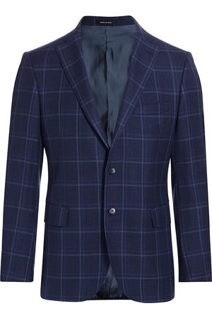 Saks Fifth Avenue Men's COLLECTION Tonal Plaid Sportcoat - Navy - Size 38