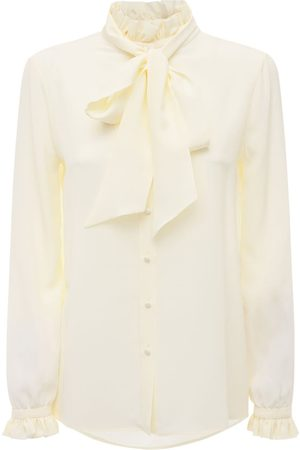 Saint Laurent Women Shirts - Silk Crepe De Chine Shirt W/bow Collar