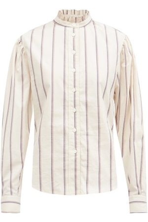 Isabel Marant Women Shirts - Jancis Ruffled High-neck Striped Cotton Shirt - Womens - Ivory