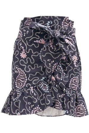 Isabel Marant Liliko Fluted-hem Paisley-print Cotton Skirt - Womens - Navy