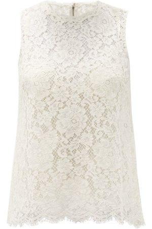 Dolce & Gabbana Cordonetto-lace Cotton-blend Top - Womens