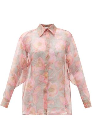 Raey Watercolour Floral-print Silk-organza Shirt - Womens - Print
