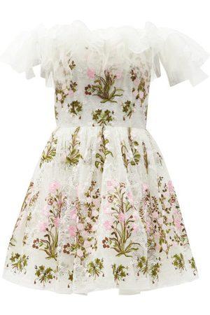 Giambattista Valli Women Party Dresses - Off-the-shoulder Floral-tulle Mini Dress - Womens - Multi