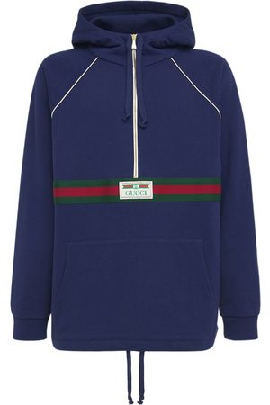 Gucci Logo Web Cotton Half Zip Hoodie