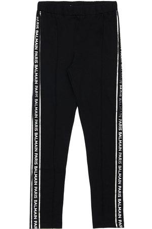 Balmain Cotton Jersey Leggings W/ Logo Bands