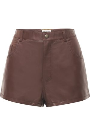 Saint Laurent Women Shorts - Leather Mini Shorts