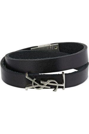 Saint Laurent Women Bracelets - Double Wrap Ysl Leather Bracelet