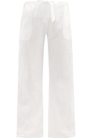Women Pajamas - Rossell England - Drawstring-waist Linen Pyjama Trousers - Womens