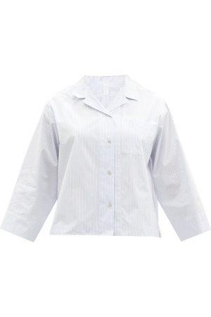Rossell England Women Pajamas - Patch-pocket Striped Cotton Pyjama Shirt - Womens - Stripe