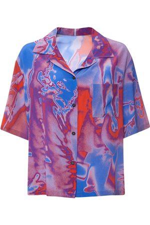 McQ Fantasma Print Silk Crepe Bowling Shirt