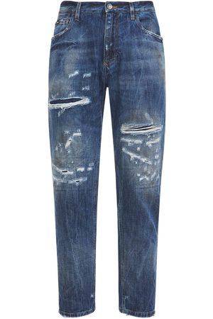 Dolce & Gabbana Men Jeans - Destroyed Denim Jeans W/leather Logo Tag