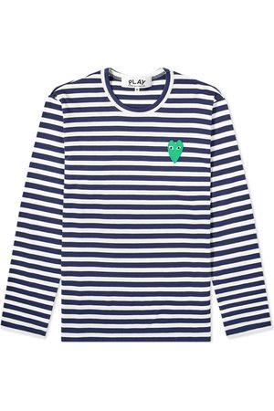 Comme des Garçons Comme des Garcons Play Long Sleeve Green Heart Logo Stripe Tee