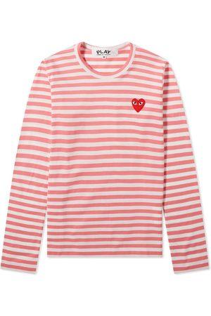 Comme des Garçons Comme des Garcons Play Women's Long Sleeve Red Heart Stripe Tee