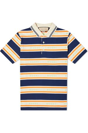 Gucci Men Polo Shirts - Logo Collar Stripe Polo