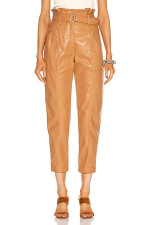 JONATHAN SIMKHAI Vegan Leather Leela Paperbag Waist Pant in Tan